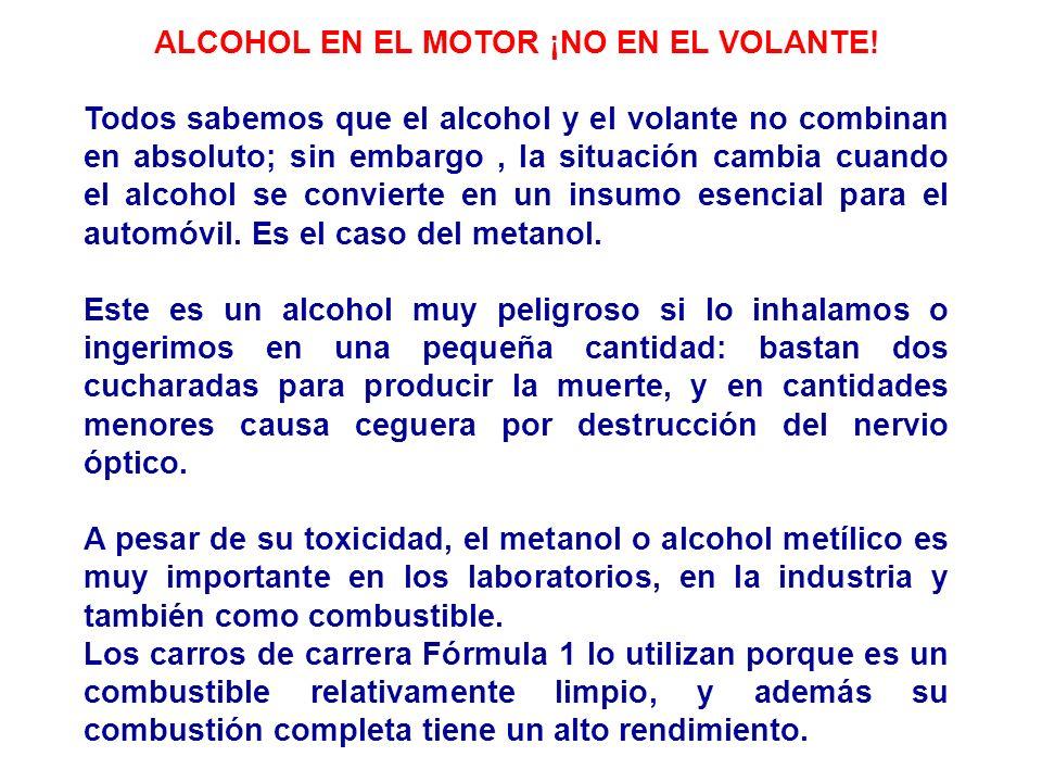 ALCOHOL EN EL MOTOR ¡NO EN EL VOLANTE! Todos sabemos que el alcohol y el volante no combinan en absoluto; sin embargo, la situación cambia cuando el a