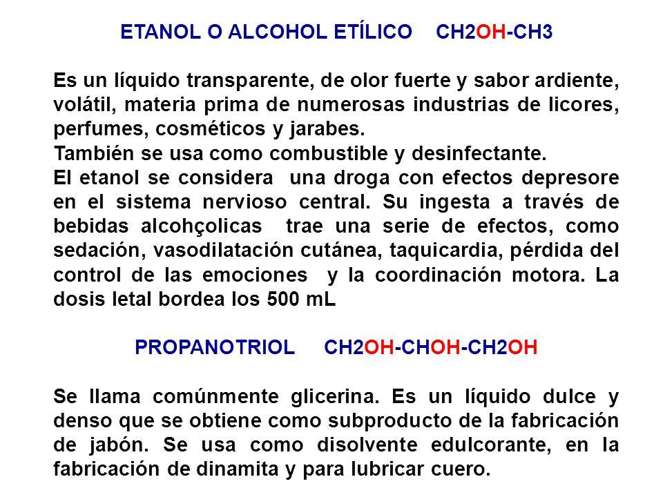 ETANOL O ALCOHOL ETÍLICO CH2OH-CH3 Es un líquido transparente, de olor fuerte y sabor ardiente, volátil, materia prima de numerosas industrias de lico