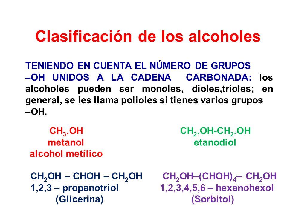 Clasificación de los alcoholes TENIENDO EN CUENTA EL NÚMERO DE GRUPOS –OH UNIDOS A LA CADENA CARBONADA: los alcoholes pueden ser monoles, dioles,triol