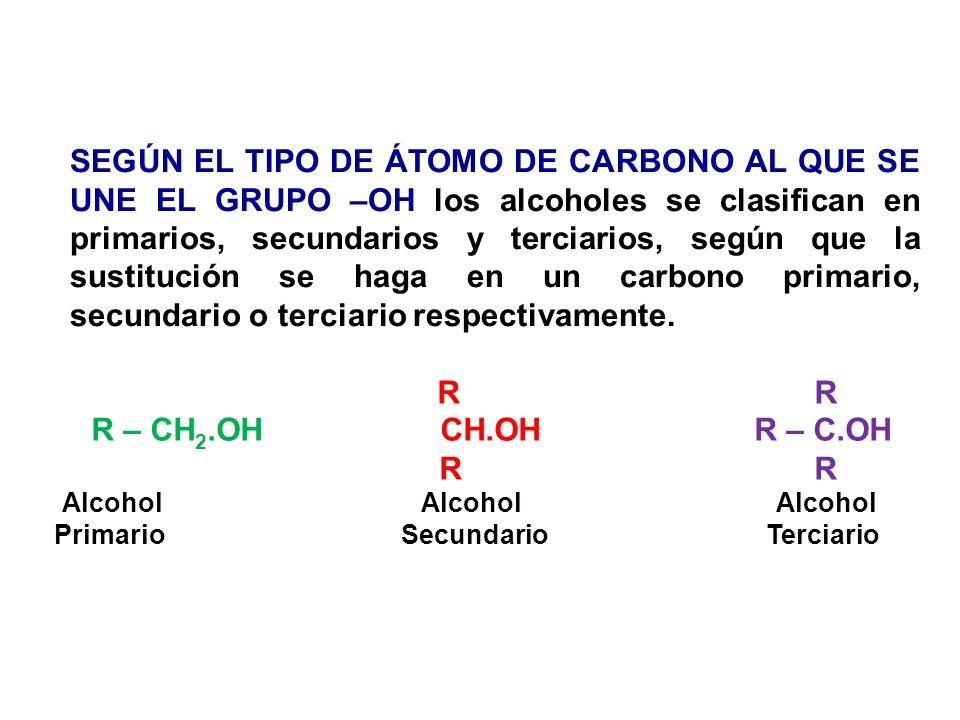 SEGÚN EL TIPO DE ÁTOMO DE CARBONO AL QUE SE UNE EL GRUPO –OH los alcoholes se clasifican en primarios, secundarios y terciarios, según que la sustituc