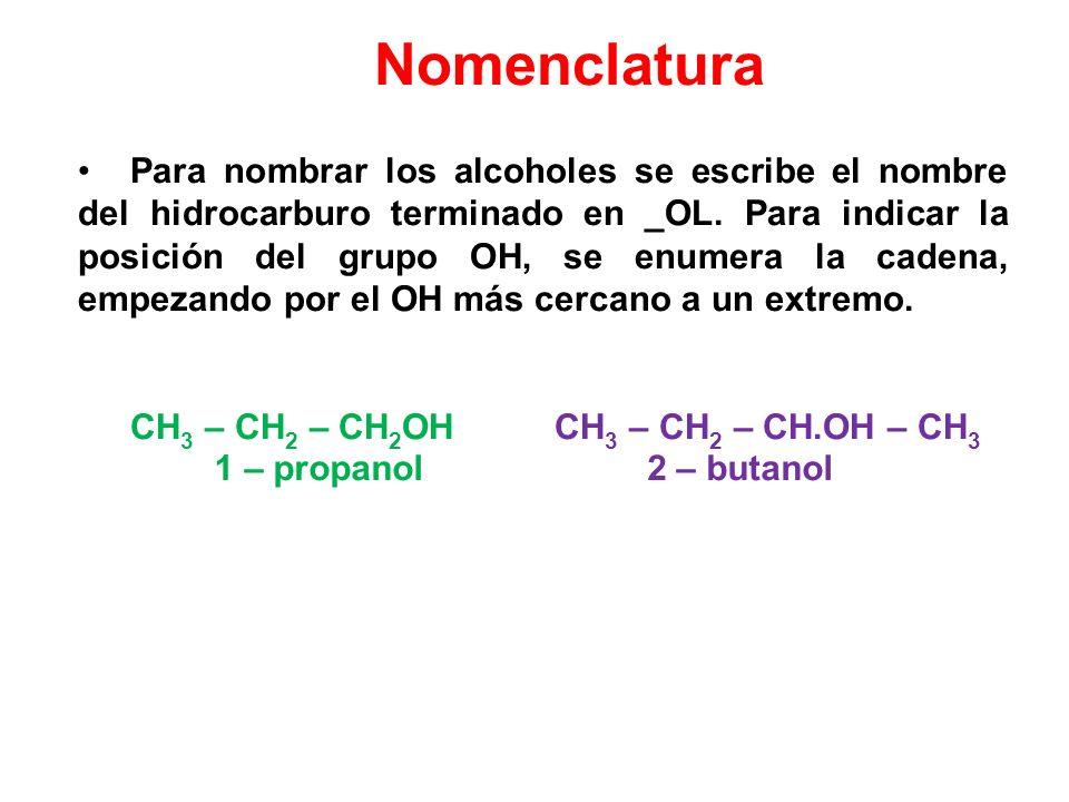Nomenclatura Para nombrar los alcoholes se escribe el nombre del hidrocarburo terminado en _OL. Para indicar la posición del grupo OH, se enumera la c