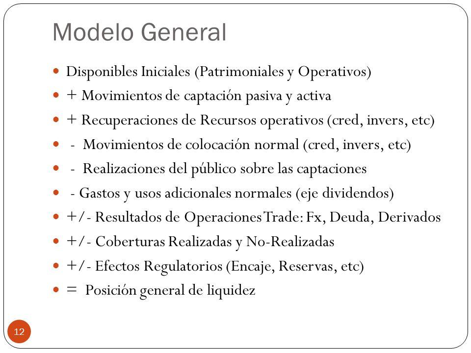 Modelo General Disponibles Iniciales (Patrimoniales y Operativos) + Movimientos de captación pasiva y activa + Recuperaciones de Recursos operativos (cred, invers, etc) - Movimientos de colocación normal (cred, invers, etc) - Realizaciones del público sobre las captaciones - Gastos y usos adicionales normales (eje dividendos) +/- Resultados de Operaciones Trade: Fx, Deuda, Derivados +/- Coberturas Realizadas y No-Realizadas +/- Efectos Regulatorios (Encaje, Reservas, etc) = Posición general de liquidez 12