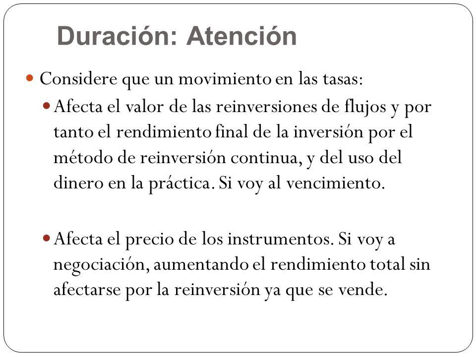 Duración: Atención Considere que un movimiento en las tasas: Afecta el valor de las reinversiones de flujos y por tanto el rendimiento final de la inv