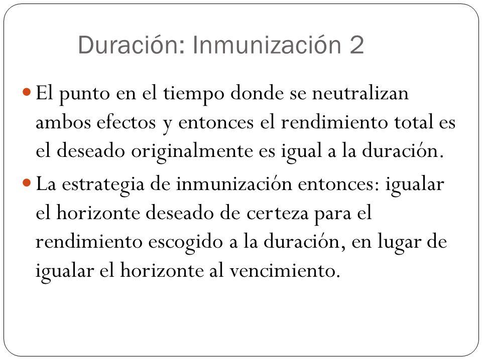 Duración: Inmunización 2 El punto en el tiempo donde se neutralizan ambos efectos y entonces el rendimiento total es el deseado originalmente es igual a la duración.