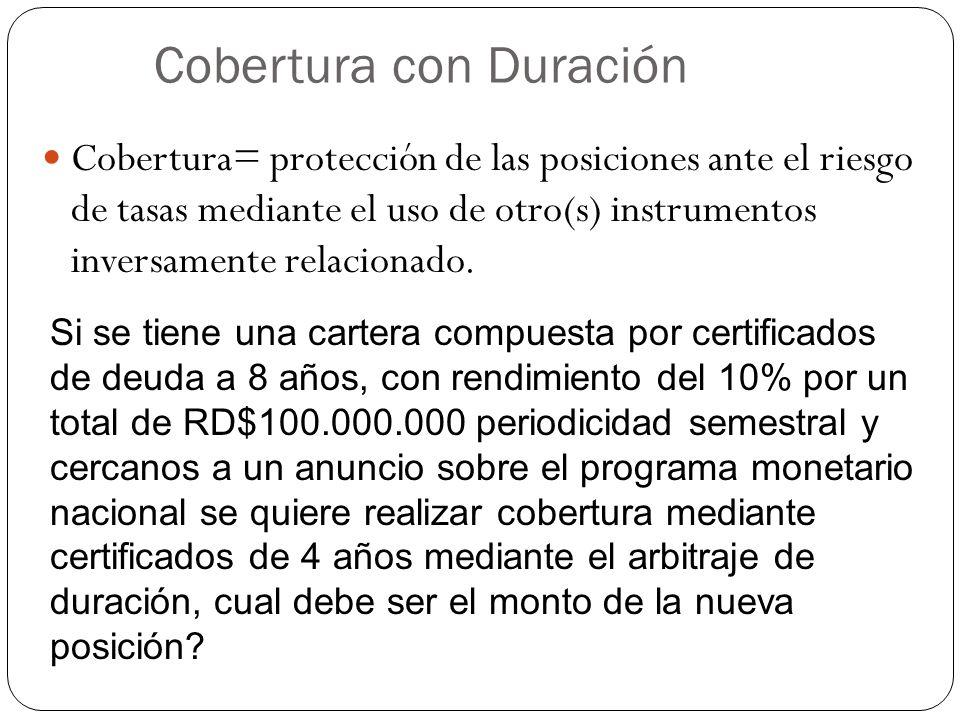 Cobertura con Duración Cobertura= protección de las posiciones ante el riesgo de tasas mediante el uso de otro(s) instrumentos inversamente relacionado.