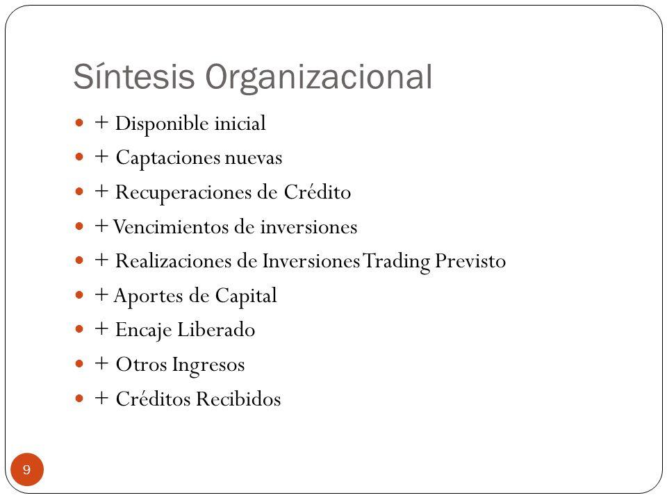 Síntesis Organizacional + Disponible inicial + Captaciones nuevas + Recuperaciones de Crédito + Vencimientos de inversiones + Realizaciones de Inversi