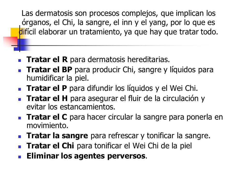 Las dermatosis son procesos complejos, que implican los órganos, el Chi, la sangre, el inn y el yang, por lo que es difícil elaborar un tratamiento, y
