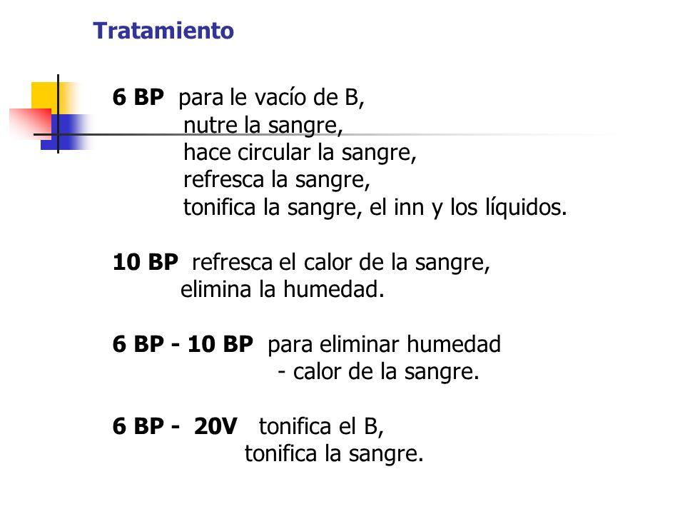 Tratamiento 6 BP para le vacío de B, nutre la sangre, hace circular la sangre, refresca la sangre, tonifica la sangre, el inn y los líquidos. 10 BP re