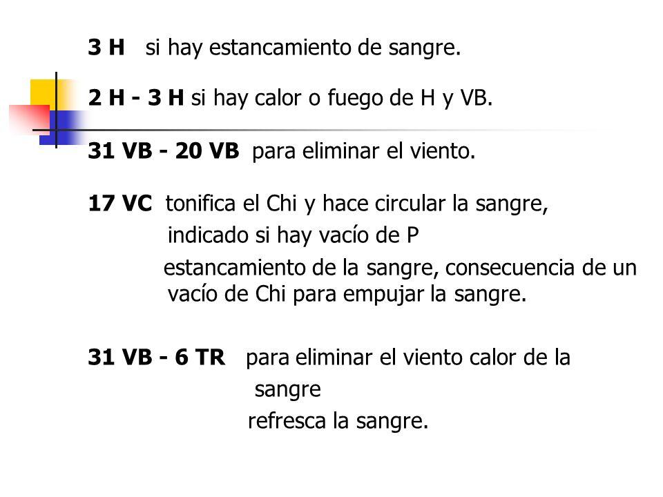3 H si hay estancamiento de sangre. 2 H - 3 H si hay calor o fuego de H y VB. 31 VB - 20 VB para eliminar el viento. 17 VC tonifica el Chi y hace circ