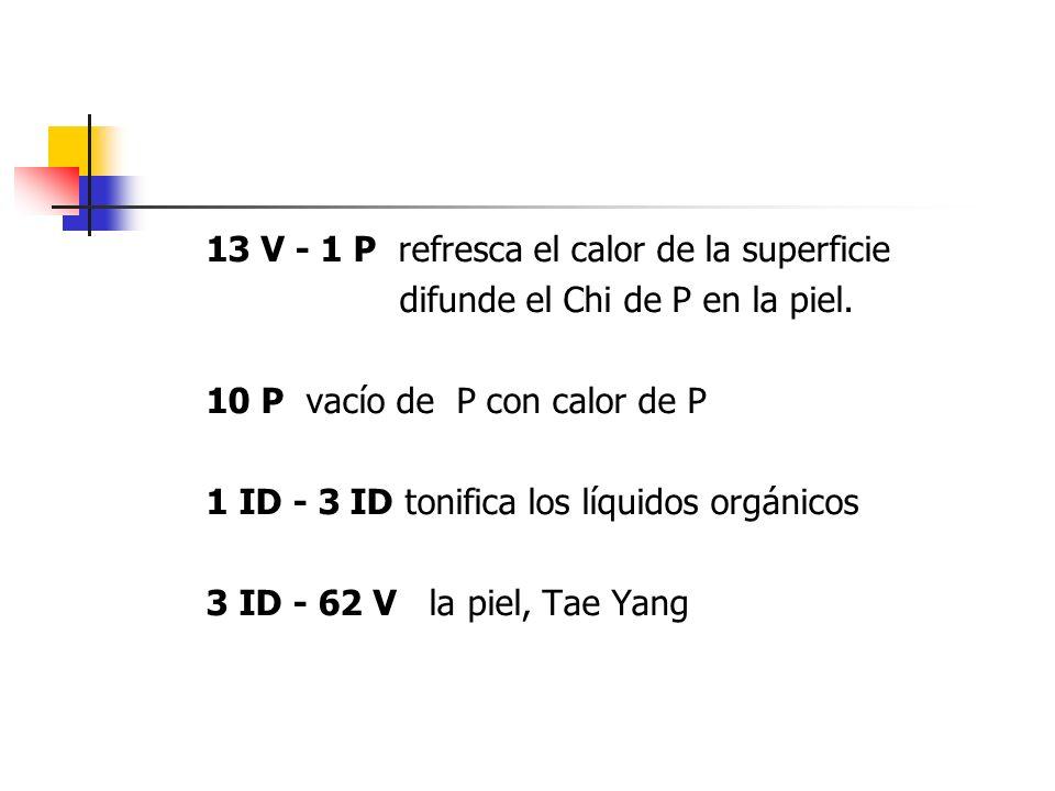 13 V - 1 P refresca el calor de la superficie difunde el Chi de P en la piel. 10 P vacío de P con calor de P 1 ID - 3 ID tonifica los líquidos orgánic