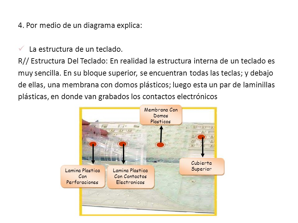 4. Por medio de un diagrama explica: La estructura de un teclado. R// Estructura Del Teclado: En realidad la estructura interna de un teclado es muy s