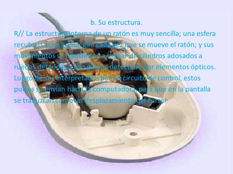b. Su estructura. R// La estructura interna de un ratón es muy sencilla; una esfera recubierta con goma, gira cada vez que se mueve el ratón; y sus mo