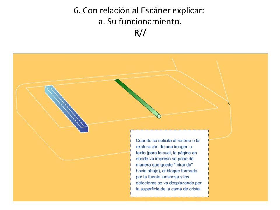6. Con relación al Escáner explicar: a. Su funcionamiento. R//