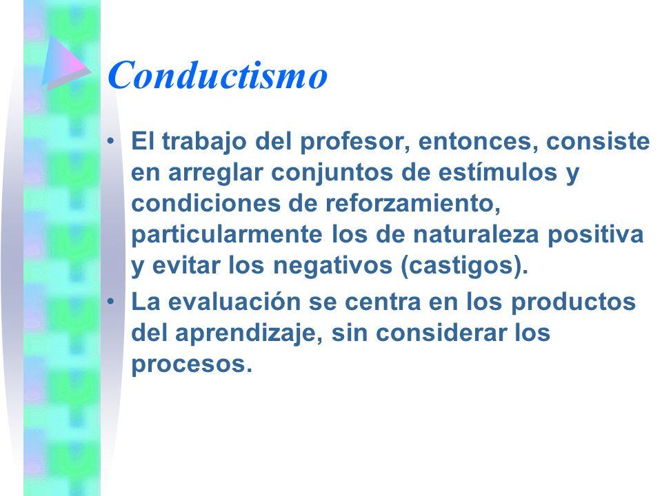 Conductismo El trabajo del profesor, entonces, consiste en arreglar conjuntos de estímulos y condiciones de reforzamiento, particularmente los de natu