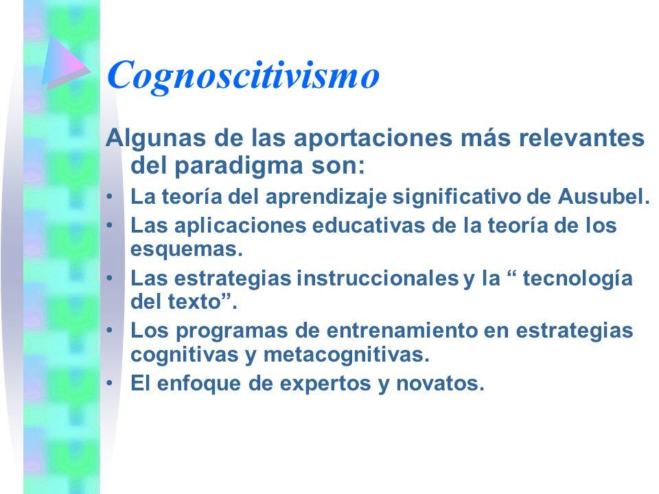 Cognoscitivismo Algunas de las aportaciones más relevantes del paradigma son: La teoría del aprendizaje significativo de Ausubel. Las aplicaciones edu