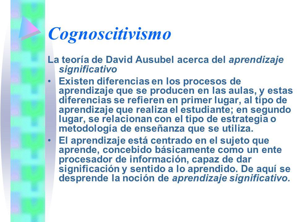 Cognoscitivismo La teoría de David Ausubel acerca del aprendizaje significativo Existen diferencias en los procesos de aprendizaje que se producen en