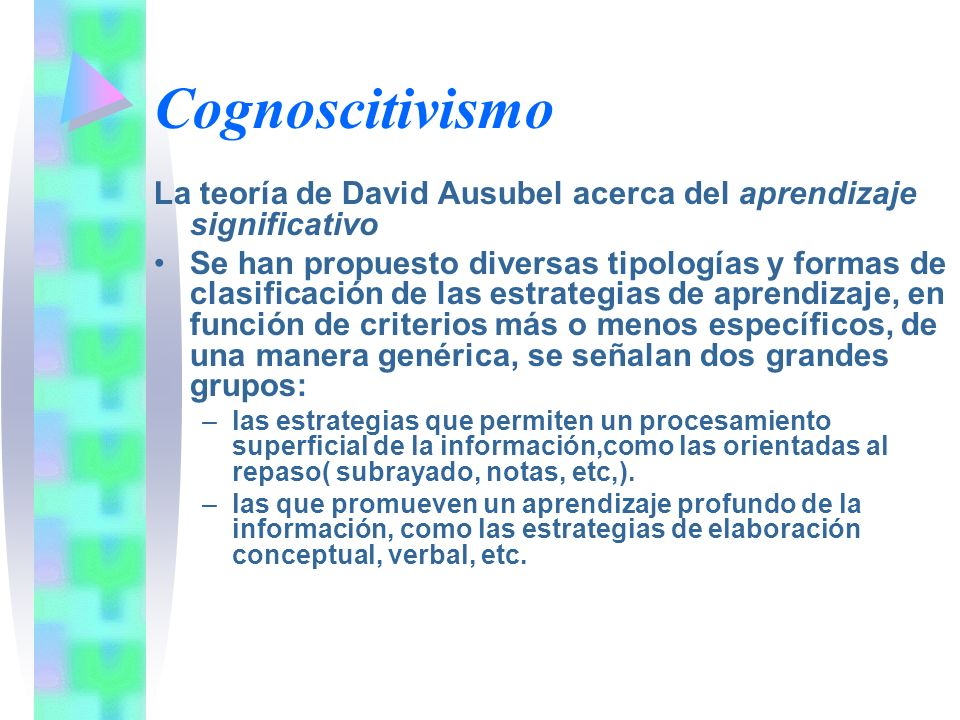 Cognoscitivismo La teoría de David Ausubel acerca del aprendizaje significativo Se han propuesto diversas tipologías y formas de clasificación de las