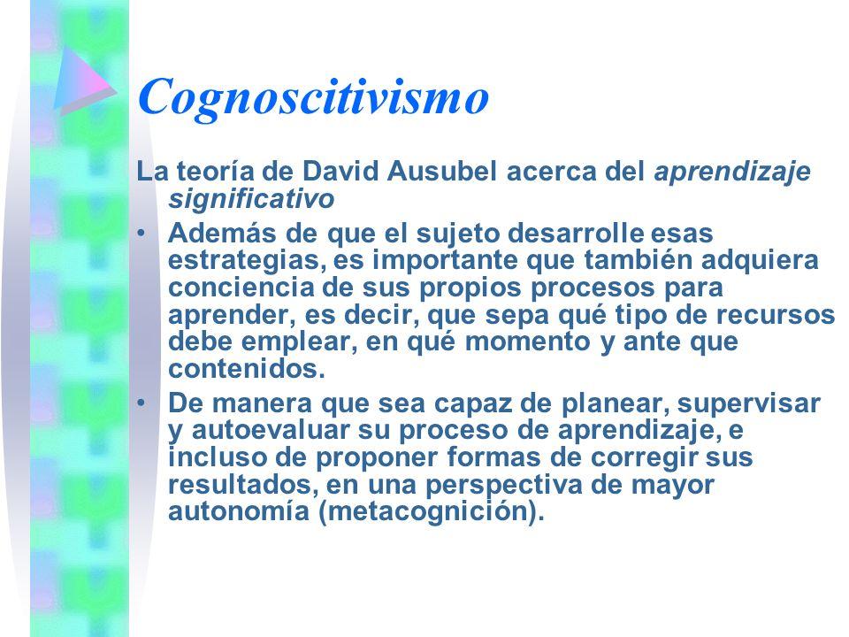 Cognoscitivismo La teoría de David Ausubel acerca del aprendizaje significativo Además de que el sujeto desarrolle esas estrategias, es importante que