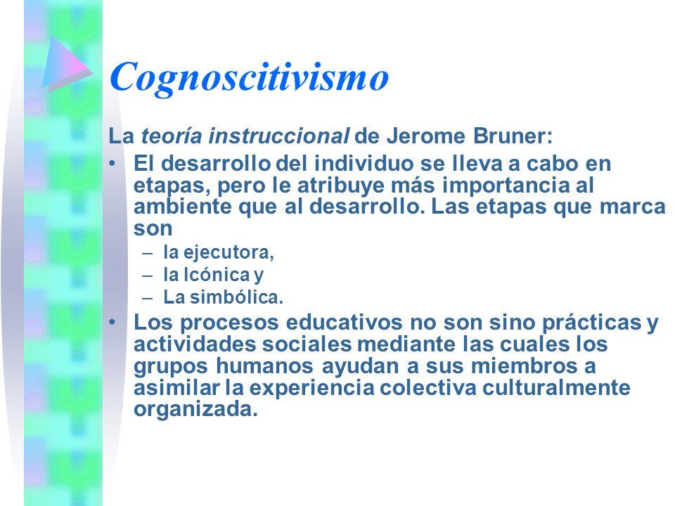 Cognoscitivismo La teoría instruccional de Jerome Bruner: El desarrollo del individuo se lleva a cabo en etapas, pero le atribuye más importancia al a