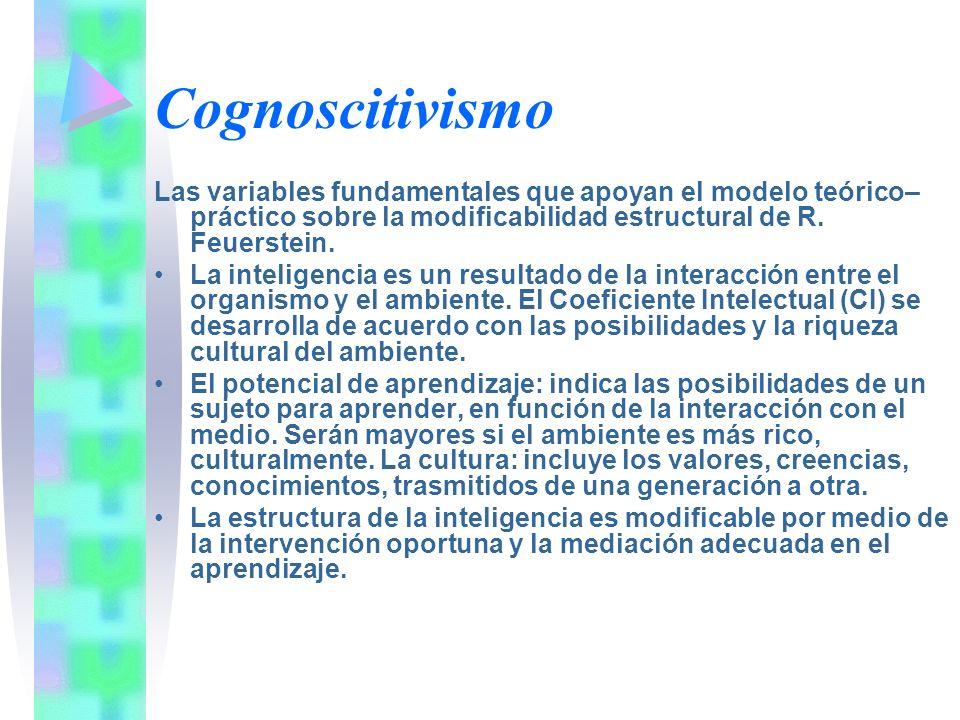 Cognoscitivismo Las variables fundamentales que apoyan el modelo teórico– práctico sobre la modificabilidad estructural de R. Feuerstein. La inteligen