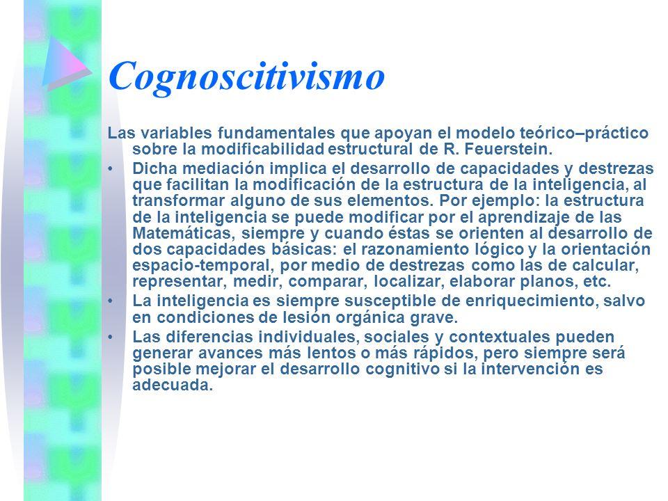 Cognoscitivismo Las variables fundamentales que apoyan el modelo teórico–práctico sobre la modificabilidad estructural de R. Feuerstein. Dicha mediaci