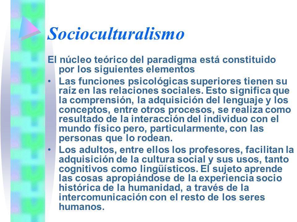 Socioculturalismo El núcleo teórico del paradigma está constituido por los siguientes elementos Las funciones psicológicas superiores tienen su raíz e