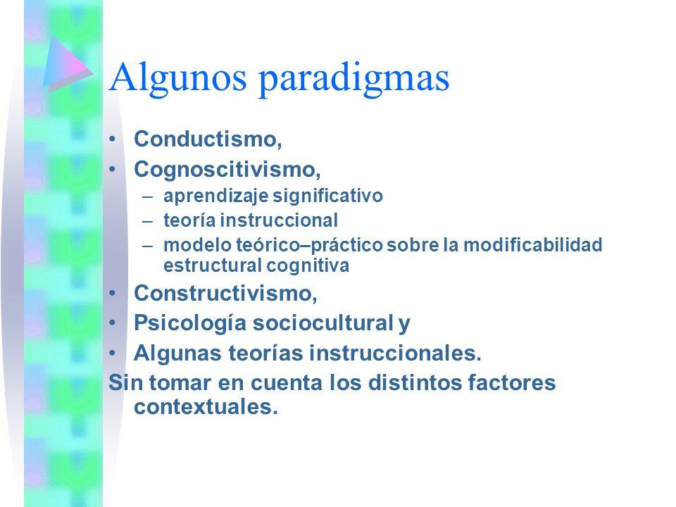 Algunos paradigmas Conductismo, Cognoscitivismo, –aprendizaje significativo –teoría instruccional –modelo teórico–práctico sobre la modificabilidad es