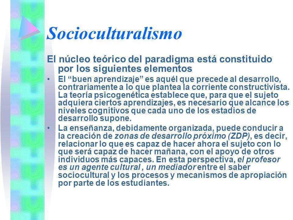 Socioculturalismo El núcleo teórico del paradigma está constituido por los siguientes elementos El buen aprendizaje es aquél que precede al desarrollo
