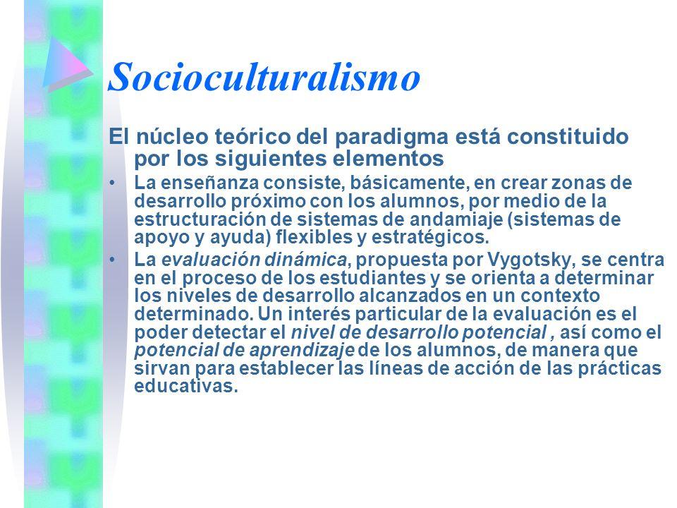 Socioculturalismo El núcleo teórico del paradigma está constituido por los siguientes elementos La enseñanza consiste, básicamente, en crear zonas de
