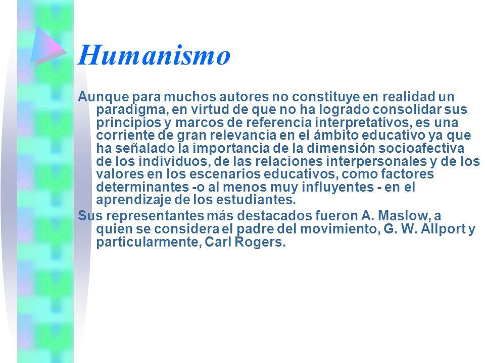 Humanismo Aunque para muchos autores no constituye en realidad un paradigma, en virtud de que no ha logrado consolidar sus principios y marcos de refe