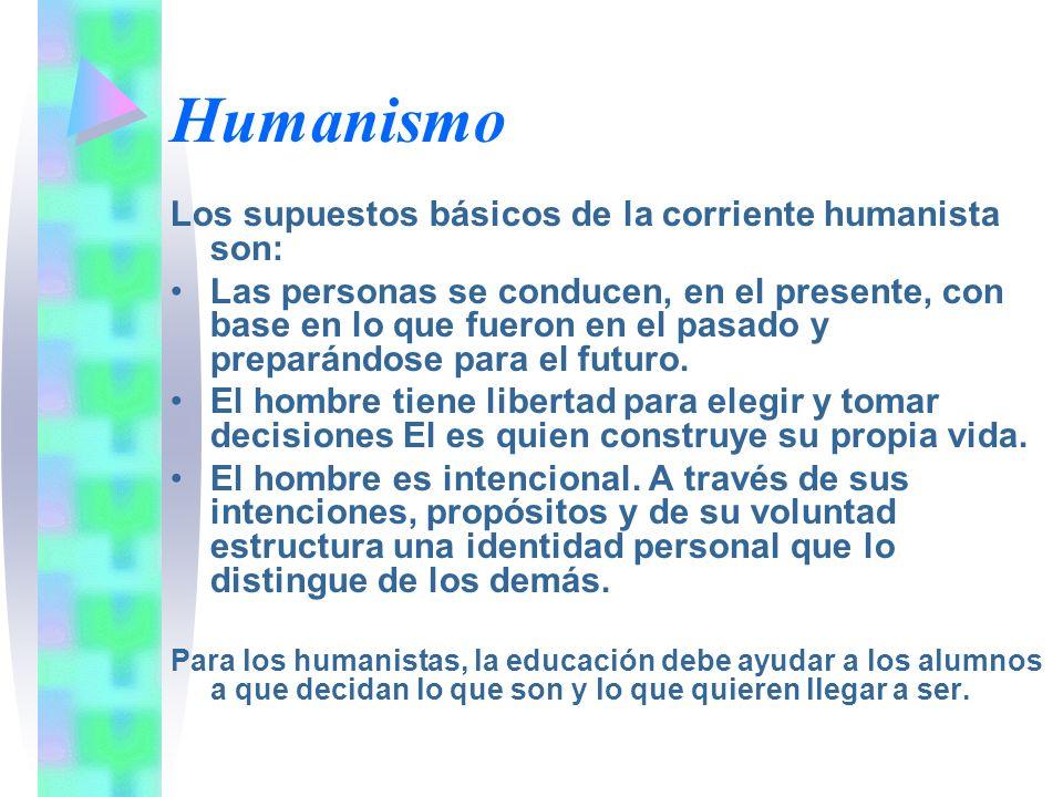 Humanismo Los supuestos básicos de la corriente humanista son: Las personas se conducen, en el presente, con base en lo que fueron en el pasado y prep
