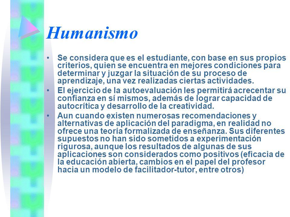 Humanismo Se considera que es el estudiante, con base en sus propios criterios, quien se encuentra en mejores condiciones para determinar y juzgar la