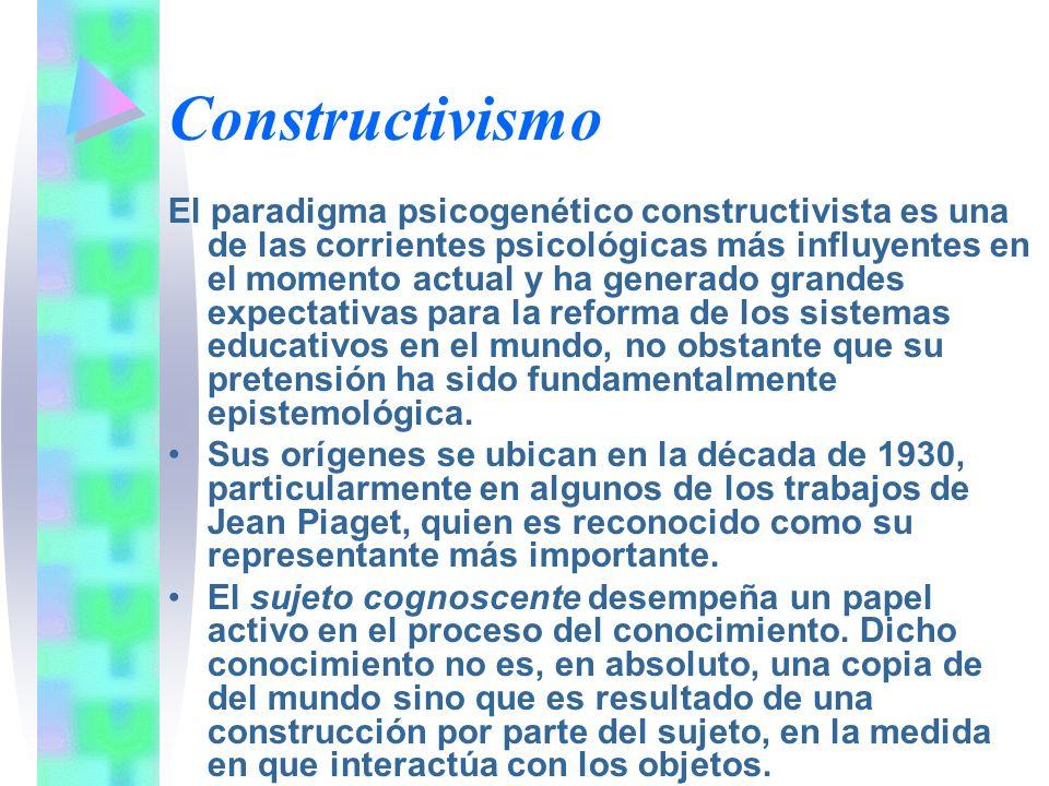 Constructivismo El paradigma psicogenético constructivista es una de las corrientes psicológicas más influyentes en el momento actual y ha generado gr