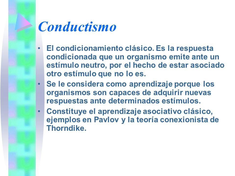 Conductismo El condicionamiento clásico. Es la respuesta condicionada que un organismo emite ante un estímulo neutro, por el hecho de estar asociado o