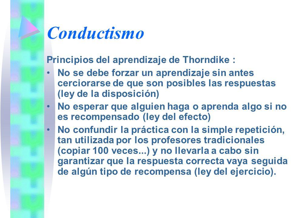 Conductismo Principios del aprendizaje de Thorndike : No se debe forzar un aprendizaje sin antes cerciorarse de que son posibles las respuestas (ley d