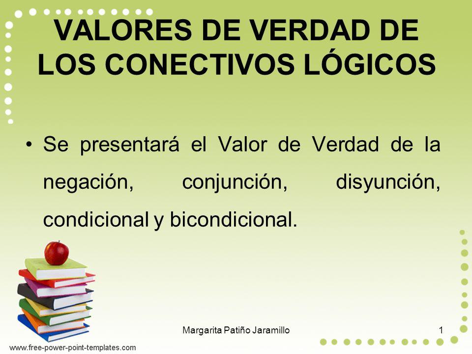 VALORES DE VERDAD DE LOS CONECTIVOS LÓGICOS Se presentará el Valor de Verdad de la negación, conjunción, disyunción, condicional y bicondicional.