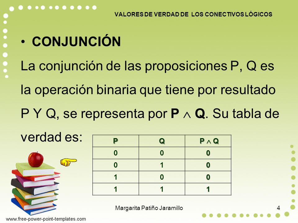 CONJUNCIÓN La conjunción de las proposiciones P, Q es la operación binaria que tiene por resultado P Y Q, se representa por P Q.