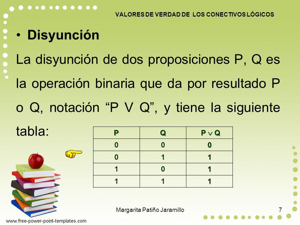 Disyunción La disyunción de dos proposiciones P, Q es la operación binaria que da por resultado P o Q, notación P V Q, y tiene la siguiente tabla: VALORES DE VERDAD DE LOS CONECTIVOS LÓGICOS PQ P Q P Q 000 011 101 111 7Margarita Patiño Jaramillo