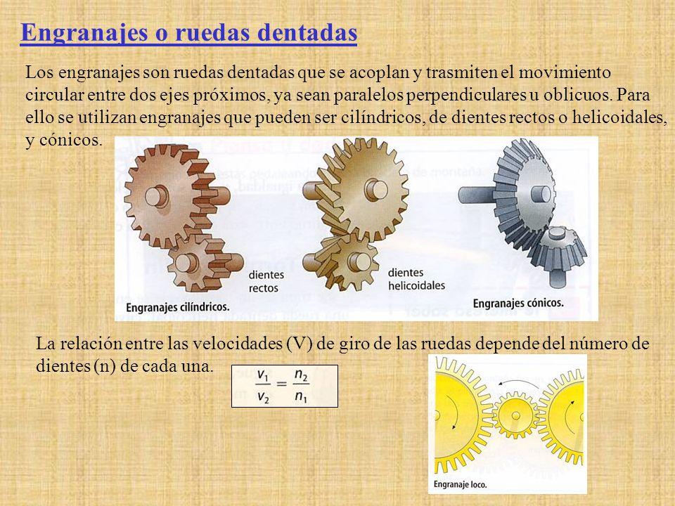 Engranajes o ruedas dentadas Los engranajes son ruedas dentadas que se acoplan y trasmiten el movimiento circular entre dos ejes próximos, ya sean par