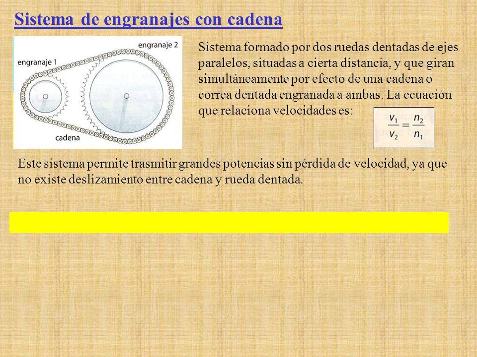 Sistema de engranajes con cadena Sistema formado por dos ruedas dentadas de ejes paralelos, situadas a cierta distancia, y que giran simultáneamente p