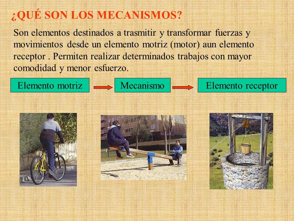 ¿QUÉ SON LOS MECANISMOS? Son elementos destinados a trasmitir y transformar fuerzas y movimientos desde un elemento motriz (motor) aun elemento recept