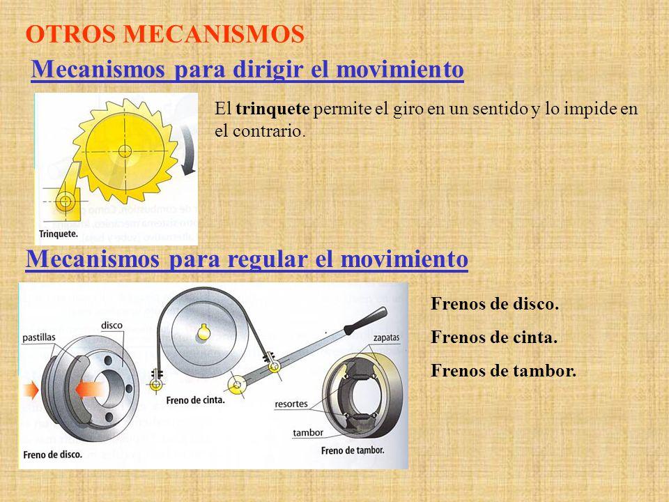 OTROS MECANISMOS Mecanismos para dirigir el movimiento El trinquete permite el giro en un sentido y lo impide en el contrario. Mecanismos para regular