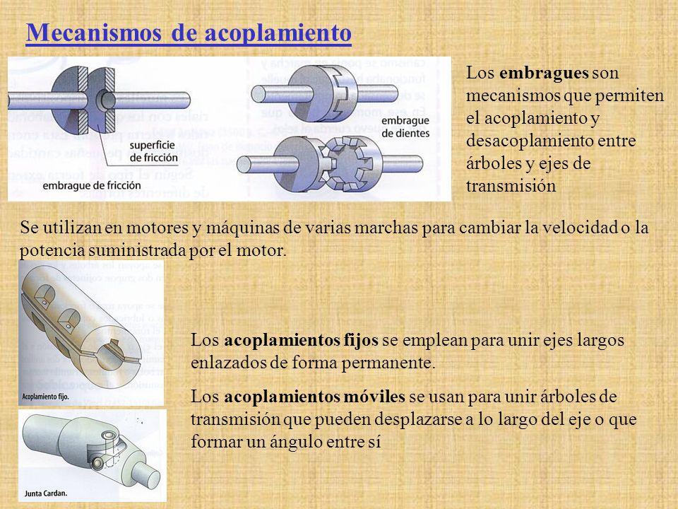 Mecanismos de acoplamiento Los embragues son mecanismos que permiten el acoplamiento y desacoplamiento entre árboles y ejes de transmisión Se utilizan