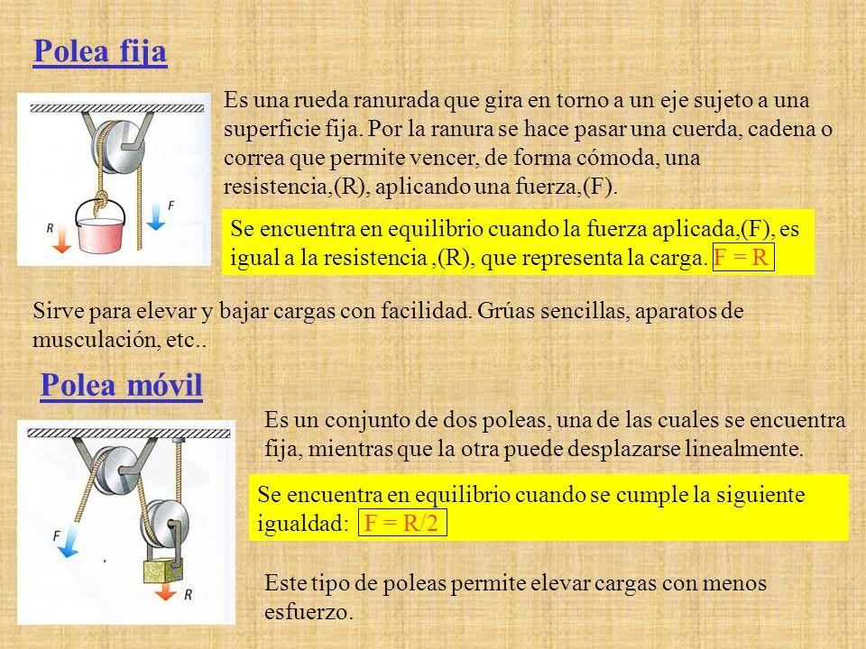 Polea fija Es una rueda ranurada que gira en torno a un eje sujeto a una superficie fija. Por la ranura se hace pasar una cuerda, cadena o correa que