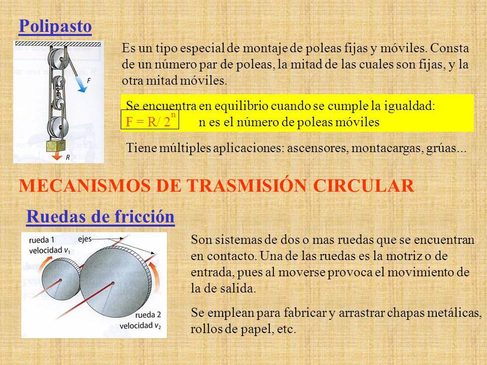 Sistema de poleas con correa Son dos poleas o ruedas situadas a cierta distancia, cuyos ejes suelen ser paralelos, que giran simultáneamente por efecto de una correa.
