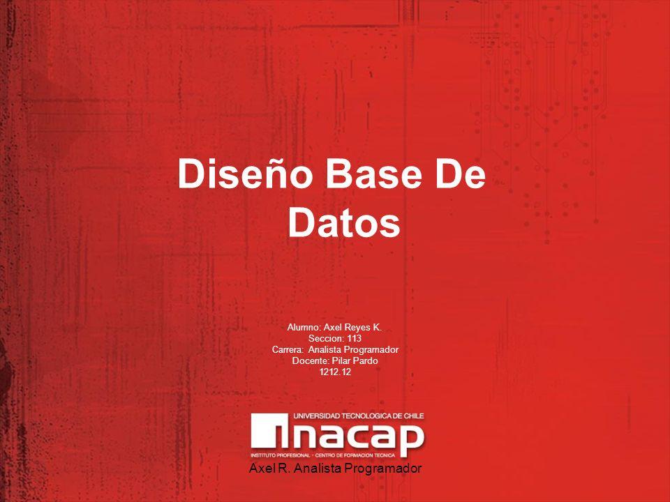 Diseño Base De Datos Alumno: Axel Reyes K. Seccion: 113 Carrera: Analista Programador Docente: Pilar Pardo 1212.12 Axel R. Analista Programador