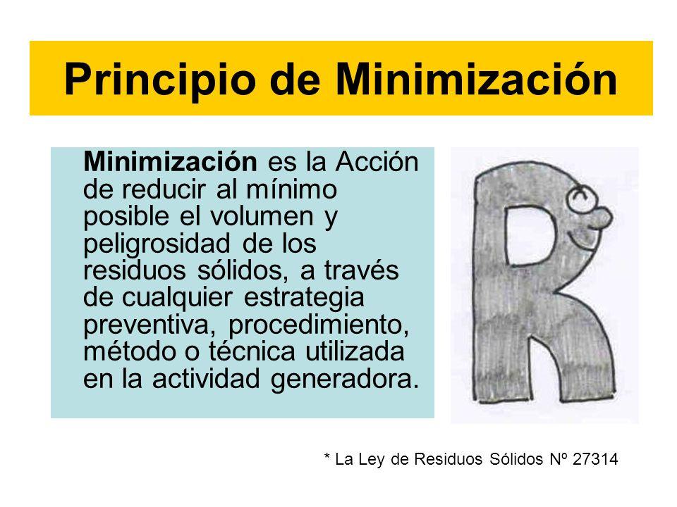 Minimización es la Acción de reducir al mínimo posible el volumen y peligrosidad de los residuos sólidos, a través de cualquier estrategia preventiva,