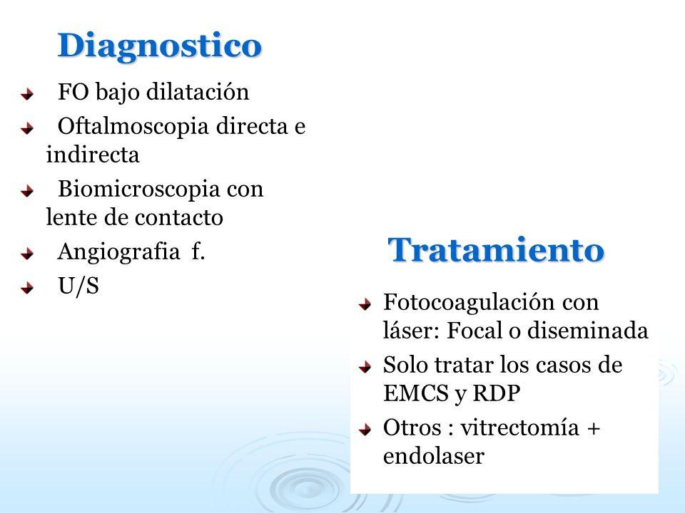 Diagnostico FO bajo dilatación Oftalmoscopia directa e indirecta Biomicroscopia con lente de contacto Angiografia f. U/S Tratamiento Fotocoagulación c