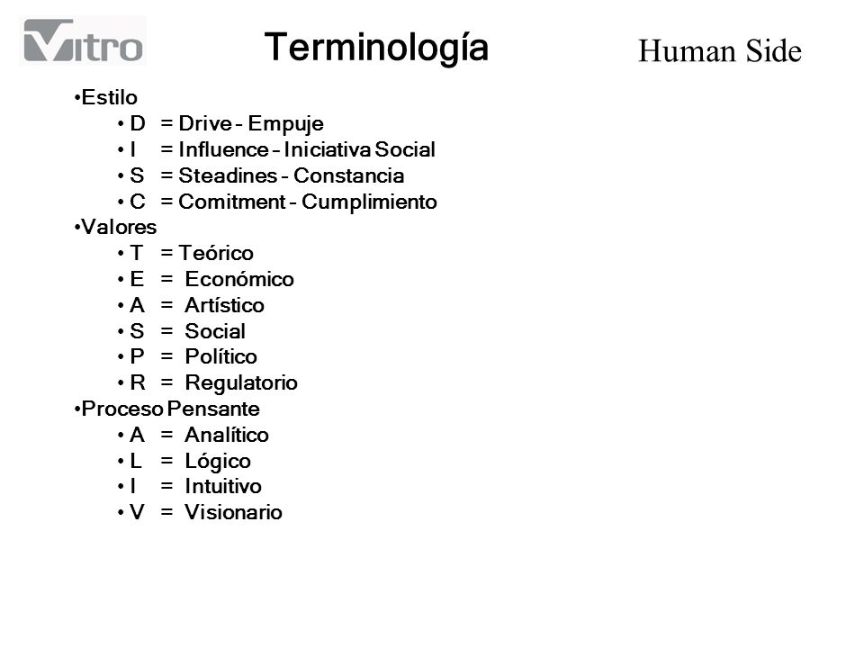 Human Side Terminología Estilo D= Drive - Empuje I= Influence – Iniciativa Social S= Steadines - Constancia C= Comitment - Cumplimiento Valores T= Teó