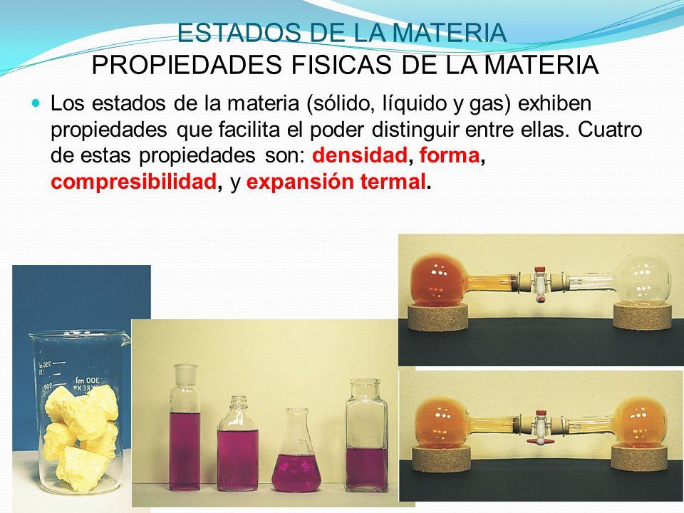 ESTADOS DE LA MATERIA PROPIEDADES FISICAS DE LA MATERIA Los estados de la materia (sólido, líquido y gas) exhiben propiedades que facilita el poder distinguir entre ellas.
